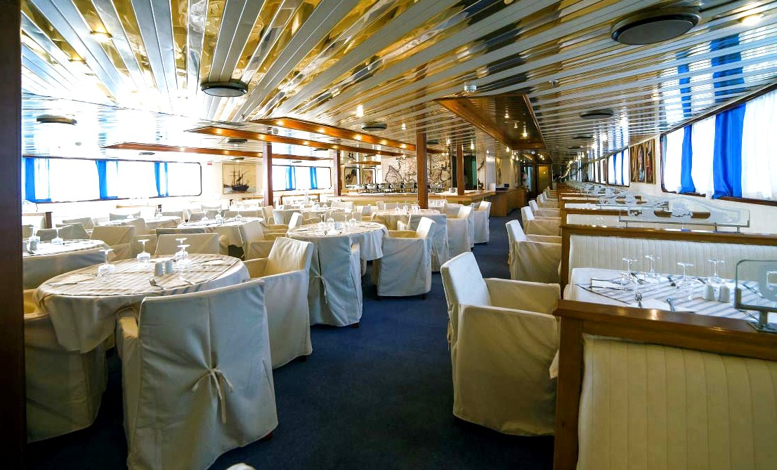 Dining room on board the one-day cruise ship