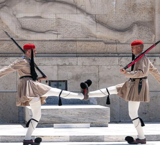 Evzones guards at the Greek Parliament in Athens