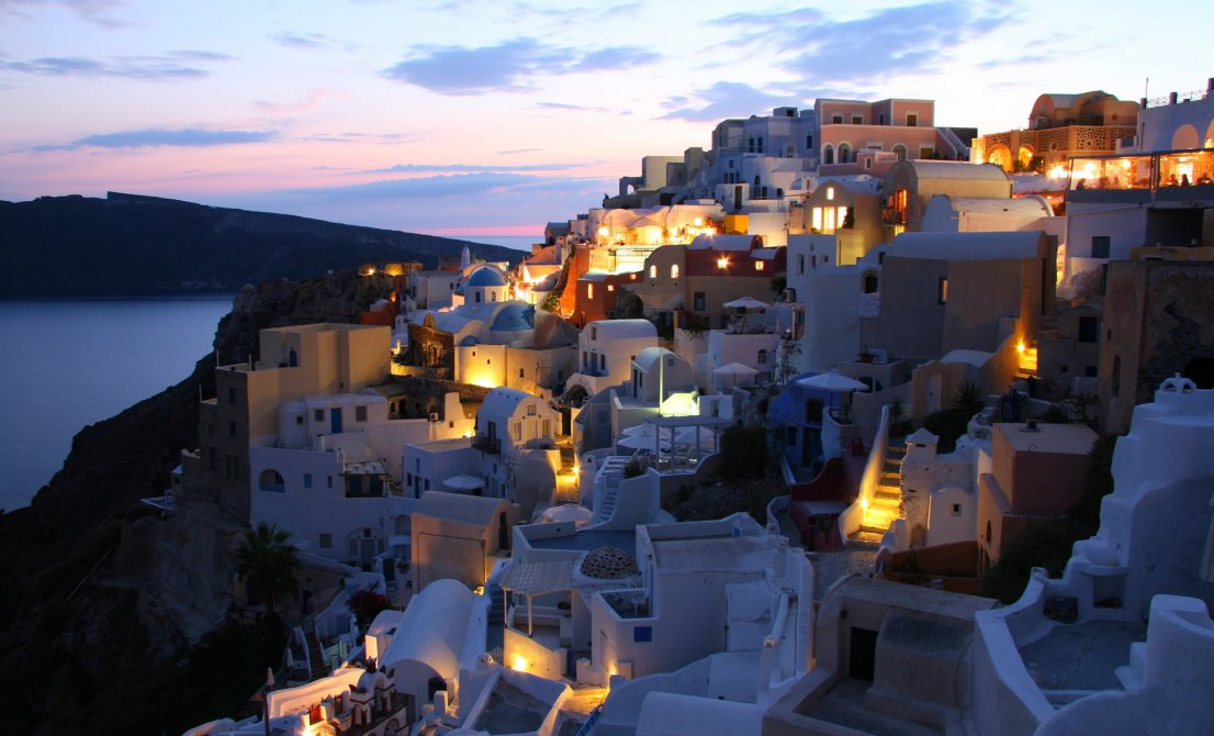 Santorini Greece - caldera by night - Cruises in Greece - Greek cruises - Tours in Greece - Greek Travel Packages - Cruise Greek islands - Travel Agency in Greece