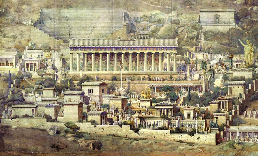 Speculative illustration of ancient Delphi by architect Albert Tournaire