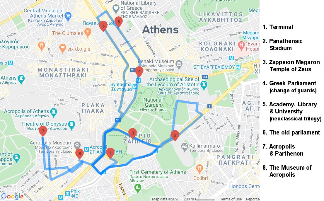 Map of the Athens Sightseeing Tour with the Museum of Acropolis