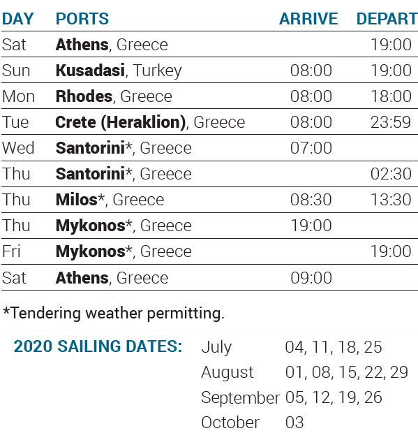 Itinerary 2020 - 7-day cruise Idyllic Aegean