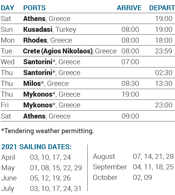 Itinerary 2021 - 7-day cruise Idyllic Aegean