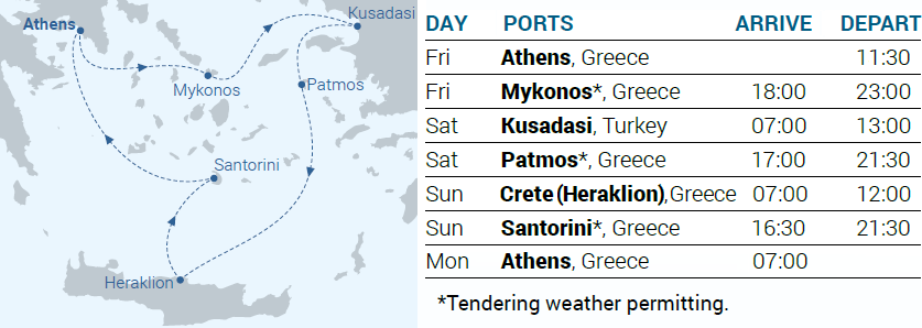 Itinerary Map - 3-day cruise Iconic Aegean