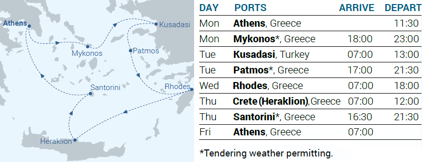 Itinerary Map - 4-day cruise Iconic Aegean