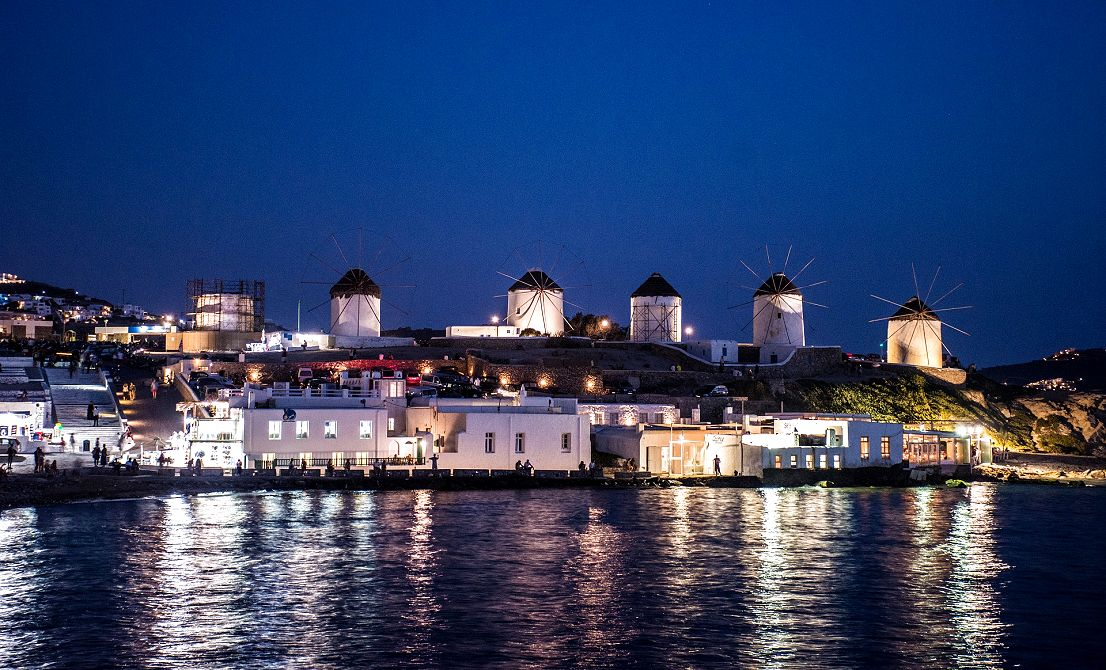 Mykonos windmills by night