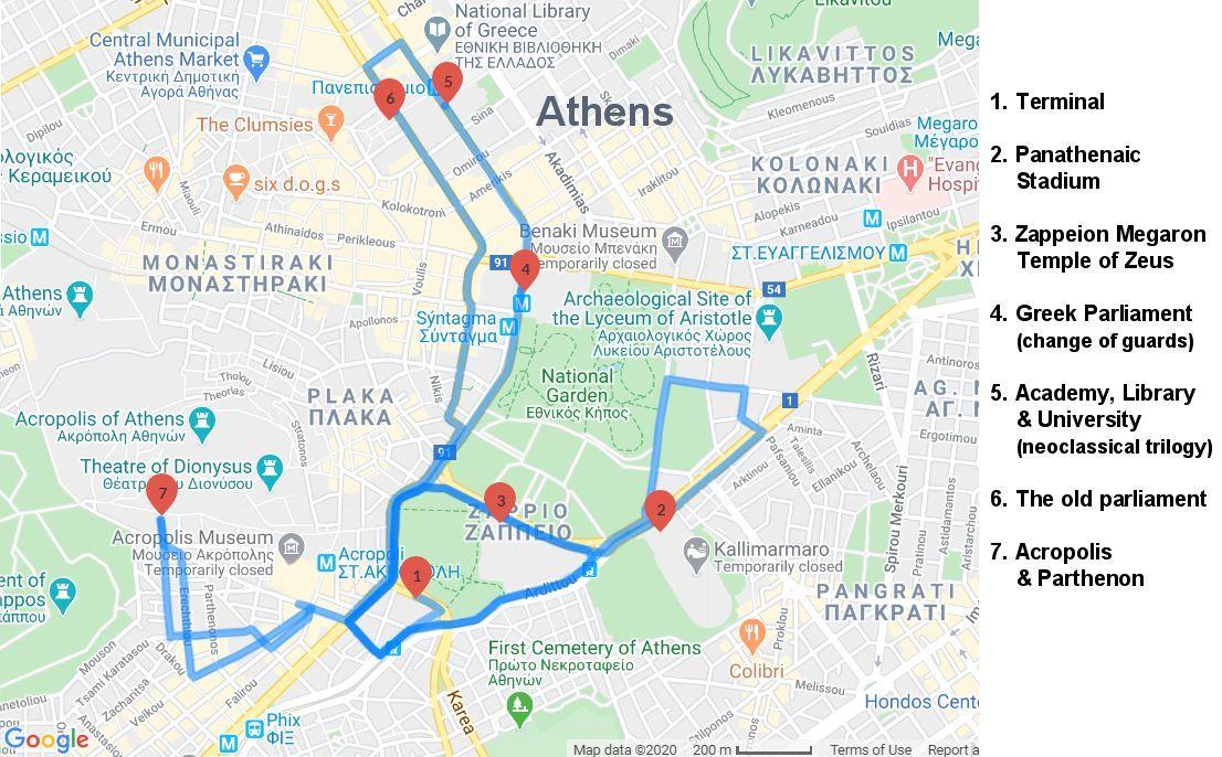 Athend Sightseeing Tour Map
